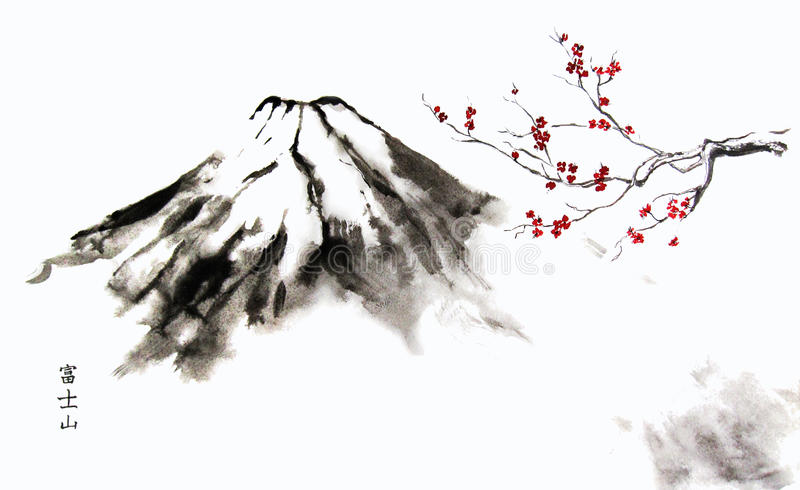 Mountain Fuji and Cherry Blossom. Oriental ink painting with Japanese hieroglyphs mountain Fuji stock illustration