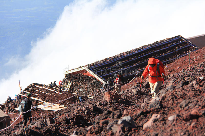 Mountain Fuji climbing and clouds. royalty free stock photography