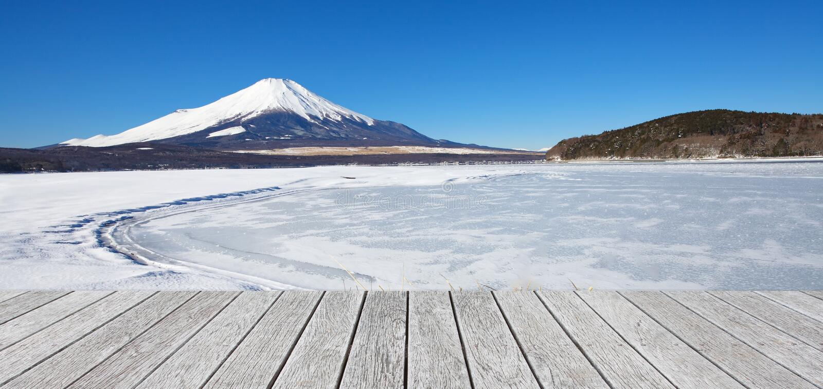 Mountain fuji and Ice lake in winter at Yamanakako lake royalty free stock photo