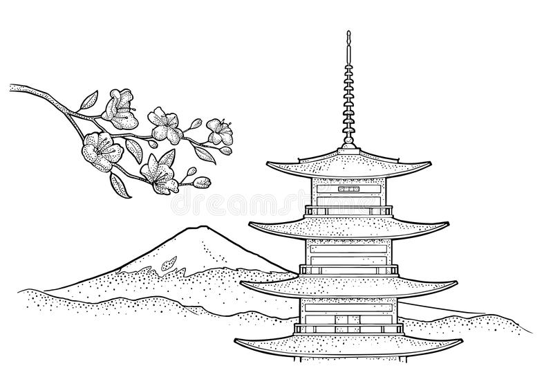Mountain Fuji in Japan. Vintage black vector engraving illustration. Mountain Fuji in Japan and cherry sakura branch with flowers and blossom. Vintage black royalty free illustration