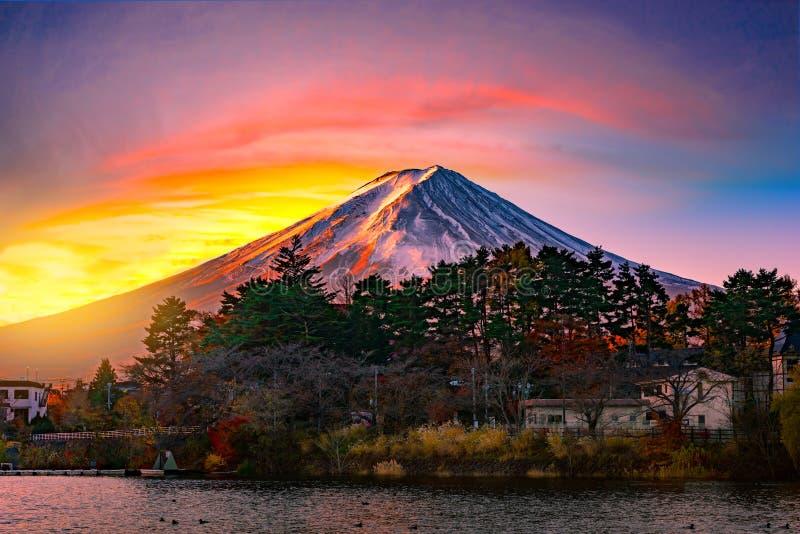 Mountain Fuji and Lake  with bueatiful sunrise in winter season.  stock photography