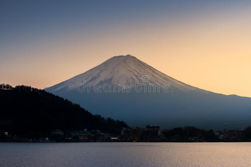 The mountain Fuji and lake kawaguchi at sunset stock photo