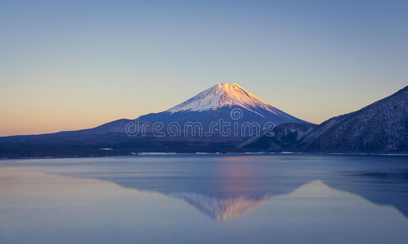Mountain Fuji and lake motosu in autumn stock photo