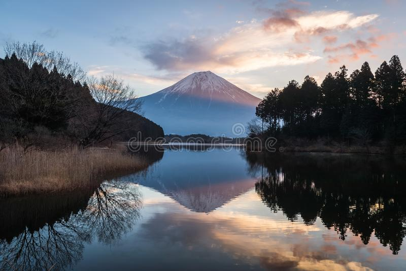 Mountain Fuji and Lake Tanuki. Mountain Fuji and Lake Tanumi with beautiful sunrise in winter season. Lake Tanuki is a lake near Mount Fuji, Japan. It is located stock photography