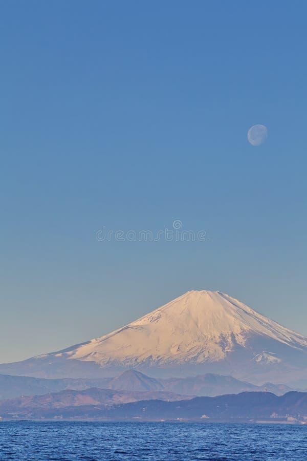 Mountain Fuji And Moon Royalty Free Stock Photos