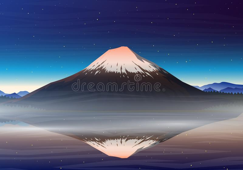 Mountain Fuji, night panoramic view with reflection on the lake kawaguchiko, peaks, landscape early in a daylight stock illustration