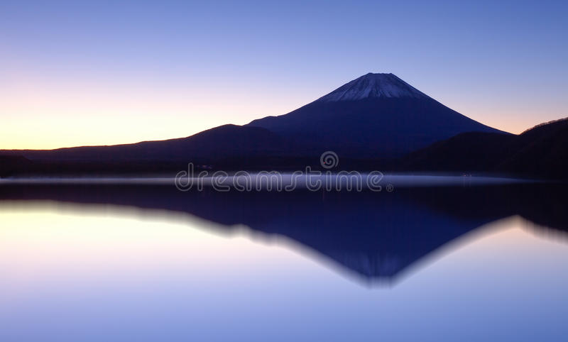 Mountain Fuji and reflection at lake Motsu stock image