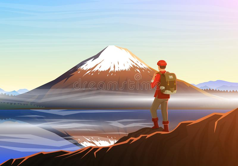 Mountain Fuji with tourist, morning panoramic view with reflection on the lake kawaguchiko, peaks, landscape early in a stock illustration