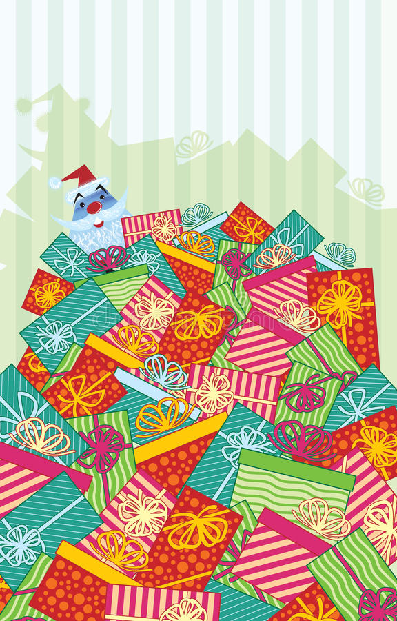 Mountain of Gifts with Santa. This Happy Holiday Santa Claus is enjoying a mountain of Christmas gifts wrapped with bows. This new, retro 50s designed, colorful royalty free illustration