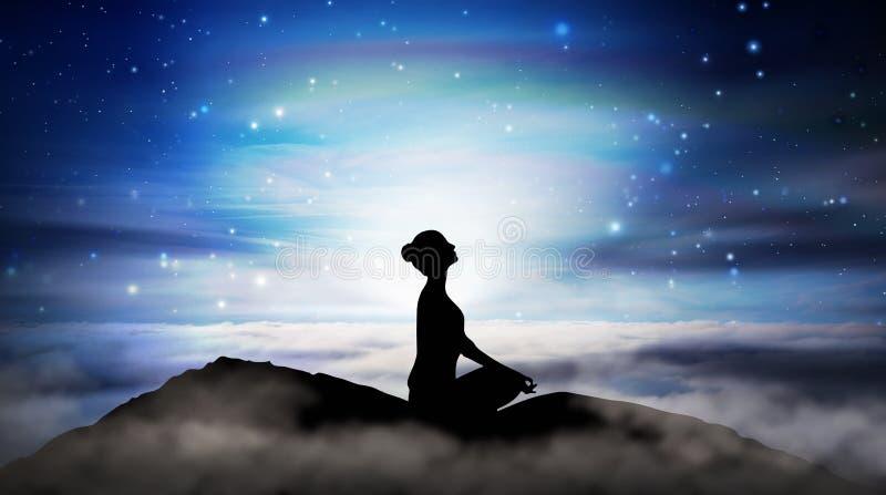 Mountain girl silhouette, meditatie onder sterren stock illustratie