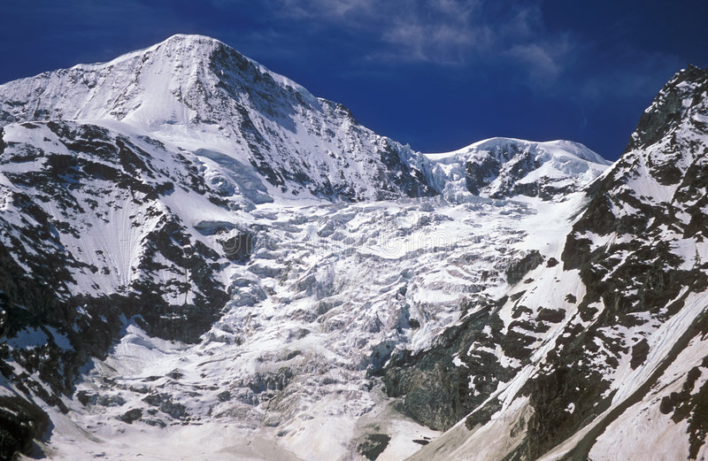 Mountain Glacier. Glacier tumbling down the side of the PIGNE D'AROLLA mountain in the Swiss Alps stock images