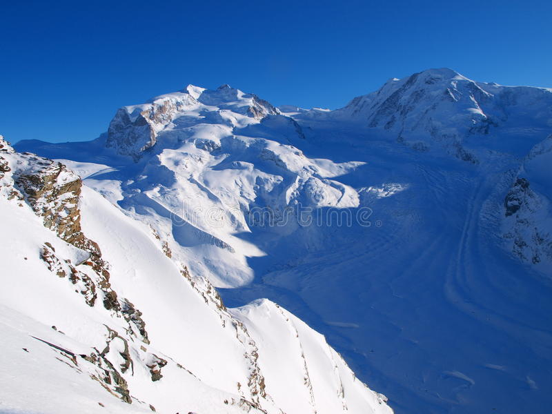 Mountain glacier viewed from Gornergrat stock images
