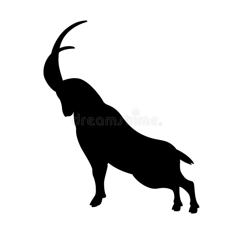 mountain goat vector illustration black silhouette stock