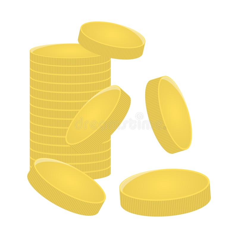 A mountain of gold coins. Bank, finance concept. Game item design. Vector illustration isolated on white background. vector illustration