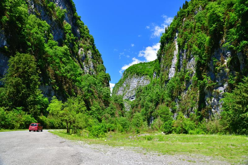 mountain gorge in an Abkhazia in summer stock photos
