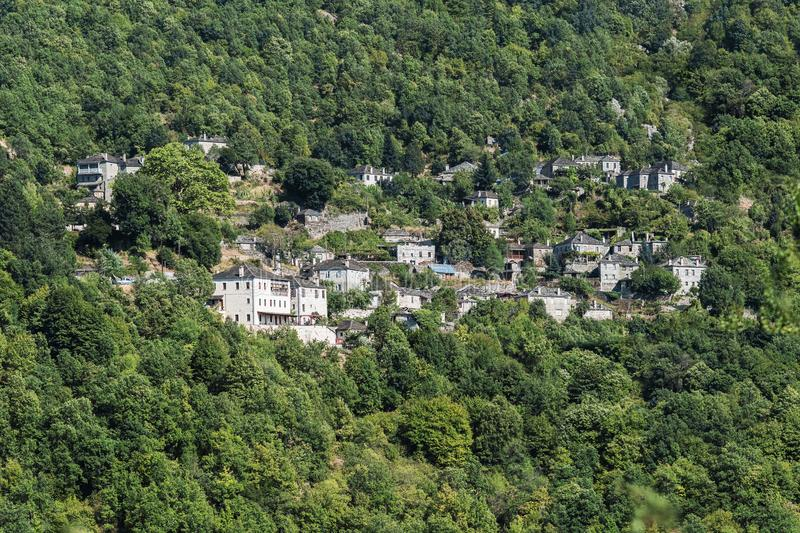 Village in the mountain in the gorge of Vikos in Greece. Zagoria region. National park of Pindus mountain. Greece. Epirus stock photography