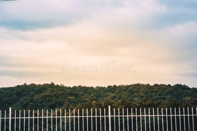 Mountain green valley evening landscape. Mountain green valley evening, cloudy weather trip place travel farmhouse stock photo