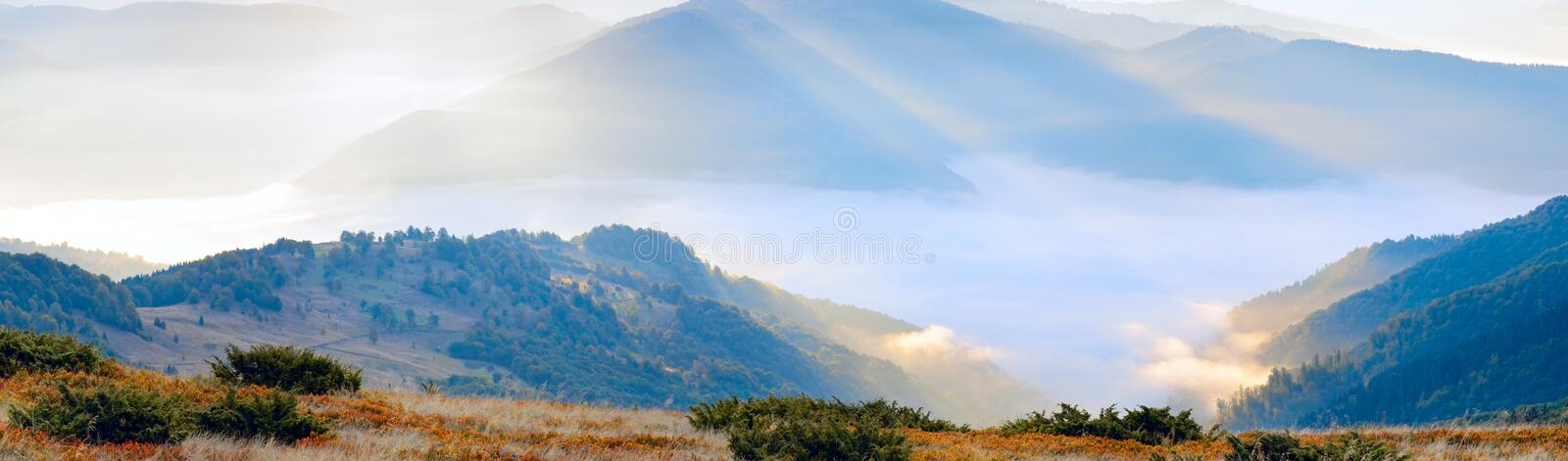 Download Mountain Hazy Daybreak With Sunbeam And Haze Stock Photo - Image: 14915790