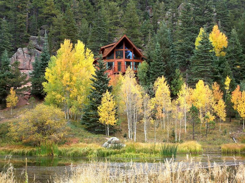 Mountain Hideaway in the Aspens stock image