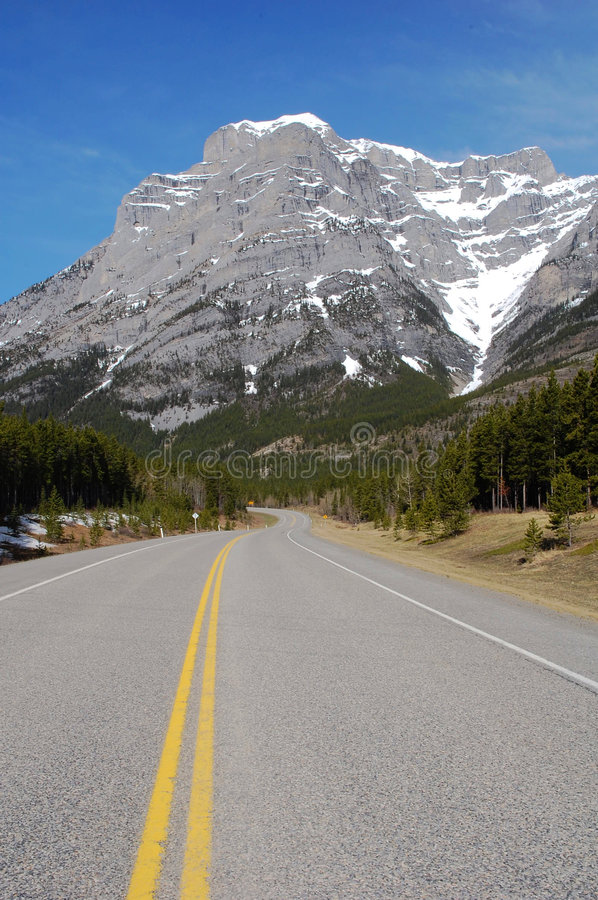 Mountain and highway royalty free stock photo