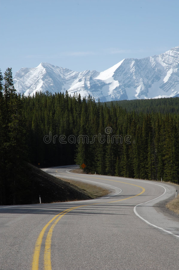 Mountain, highway and forests stock image