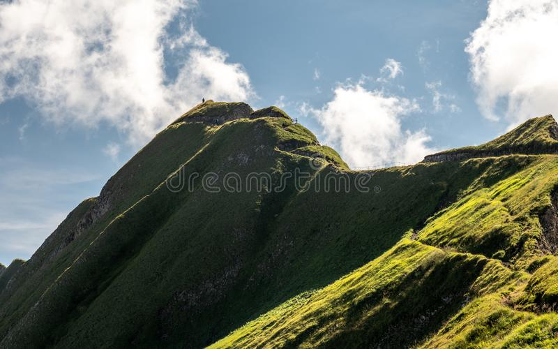 mountain hiking path scary ridge walk during sunny summer day swiss alps hohenweg royalty free stock images