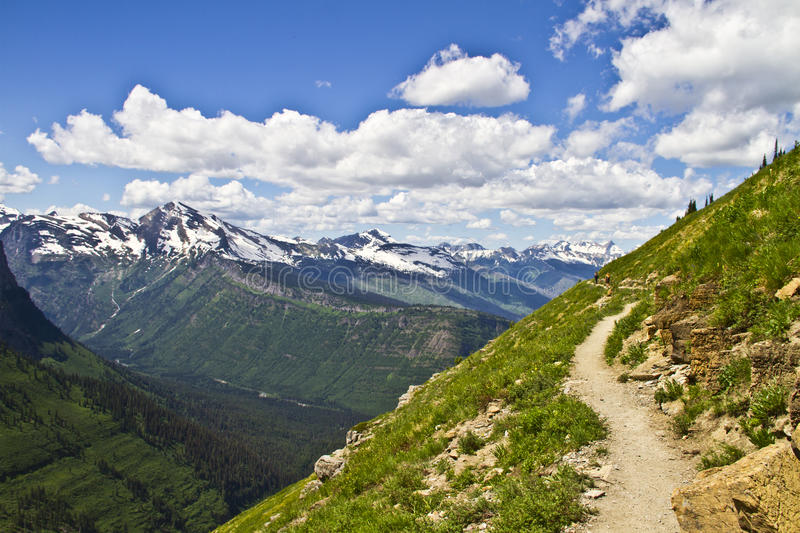 Mountain hiking trail in Glacier National Park, Montana, USA royalty free stock images