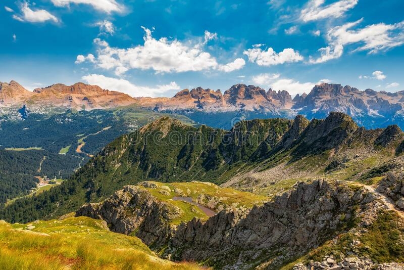 Mountain peaks, Dolomites, during summer sunny day stock photography