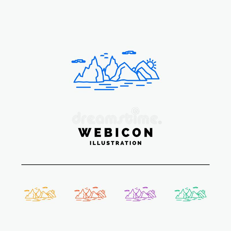 Free Mountain, Hill, Landscape, Nature, Cliff 5 Color Line Web Icon Template Isolated On White. Vector Illustration Royalty Free Stock Images - 145227109