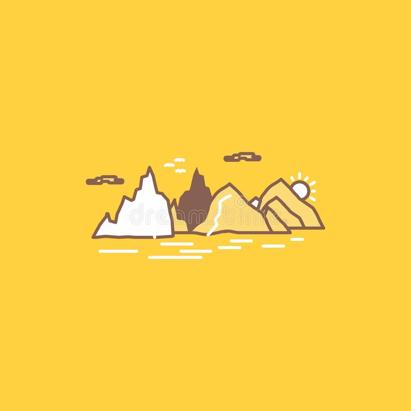 Mountain, hill, landscape, nature, cliff Flat Line Filled Icon. Beautiful Logo button over yellow background for UI and UX,. Website or mobile application royalty free illustration