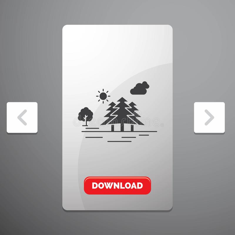 Mountain, hill, landscape, nature, clouds Glyph Icon in Carousal Pagination Slider Design & Red Download Button. Vector EPS10 Abstract Template background royalty free illustration