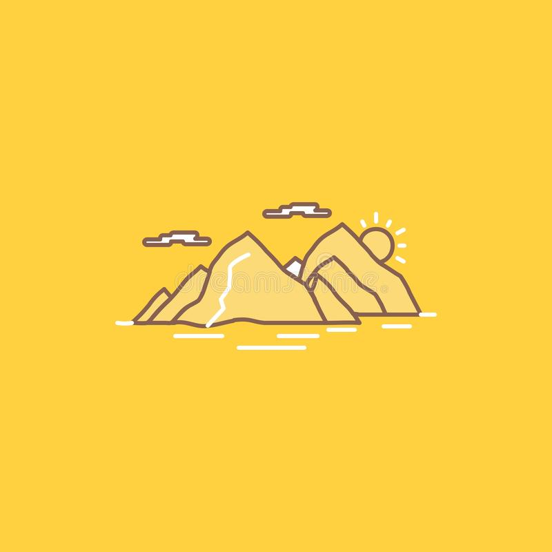 Mountain, hill, landscape, nature, evening Flat Line Filled Icon. Beautiful Logo button over yellow background for UI and UX,. Website or mobile application royalty free illustration
