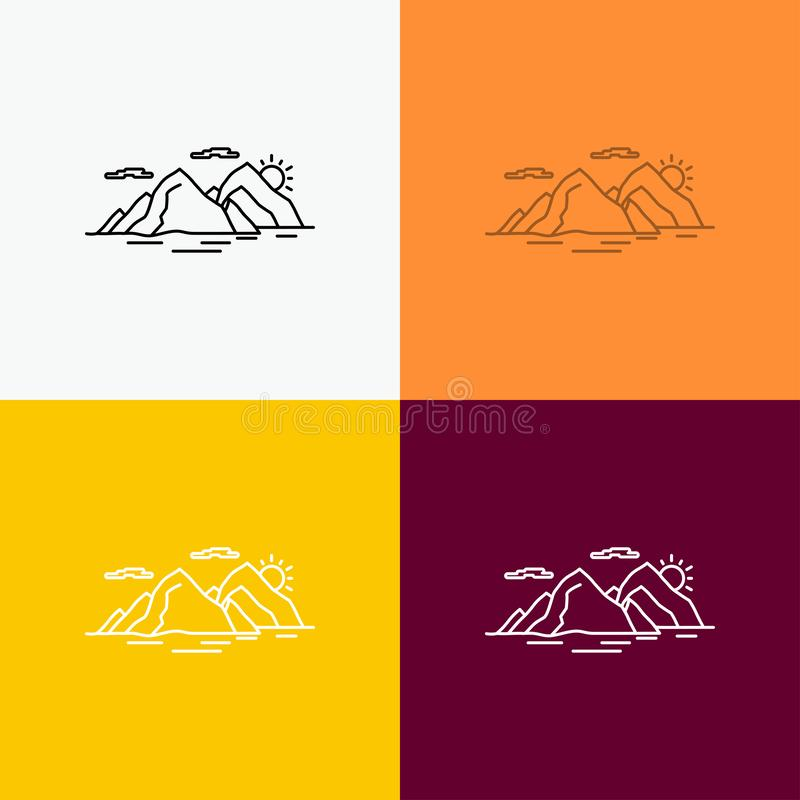 Mountain, hill, landscape, nature, evening Icon Over Various Background. Line style design, designed for web and app. Eps 10. Vector illustration. Vector EPS10 stock illustration