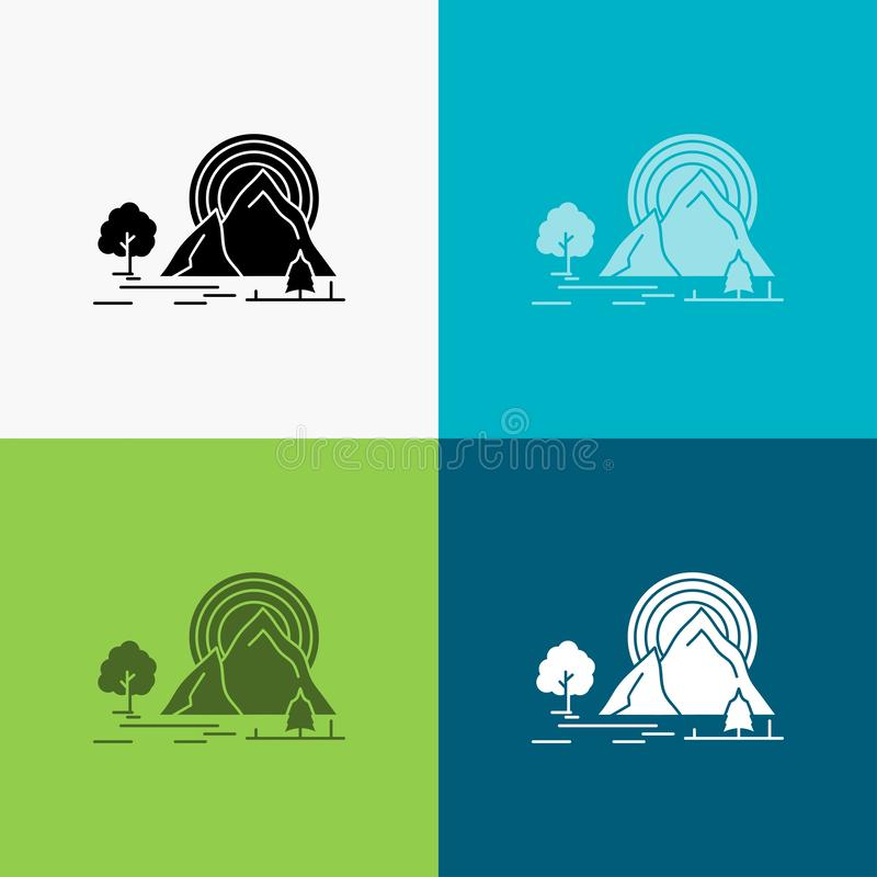 Mountain, hill, landscape, nature, rainbow Icon Over Various Background. glyph style design, designed for web and app. Eps 10. Vector illustration. Vector EPS10 royalty free illustration