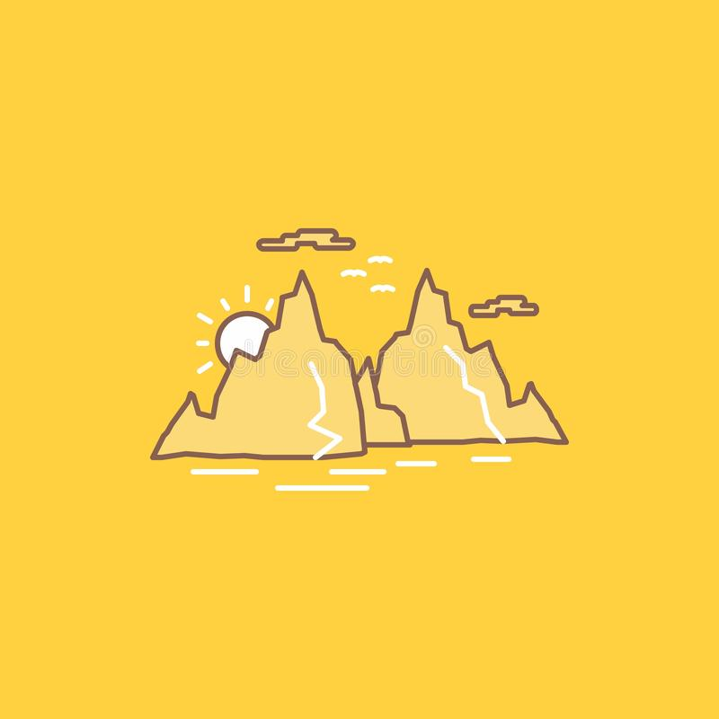 Mountain, hill, landscape, nature, sun Flat Line Filled Icon. Beautiful Logo button over yellow background for UI and UX, website. Or mobile application. Vector stock illustration