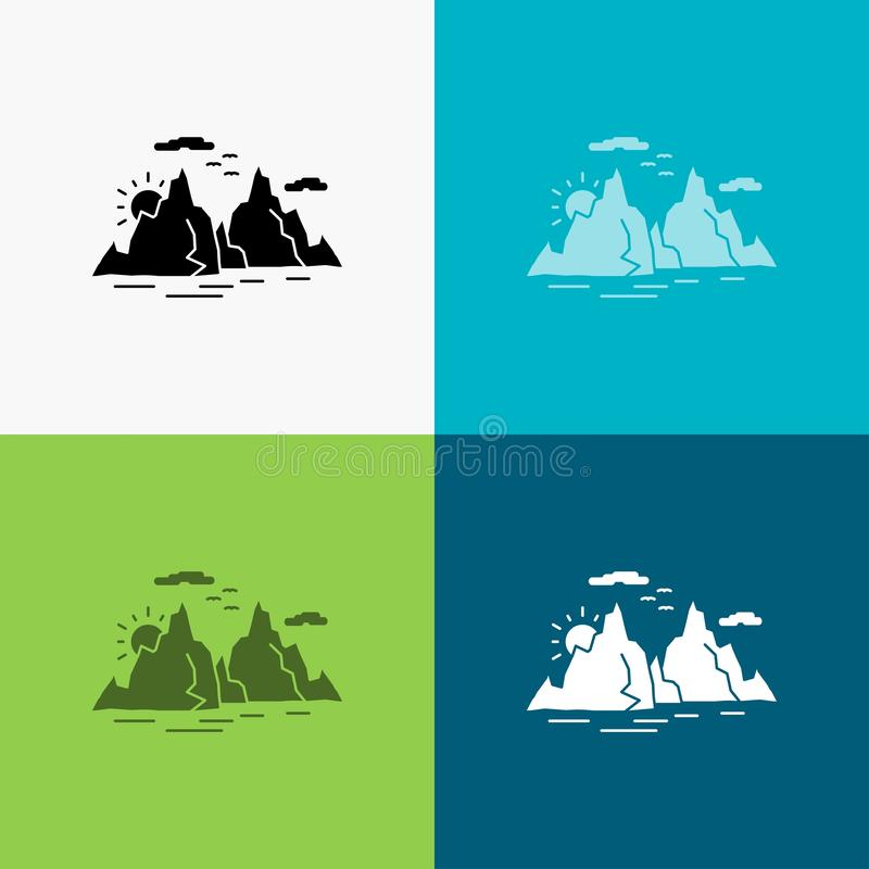 Mountain, hill, landscape, nature, sun Icon Over Various Background. glyph style design, designed for web and app. Eps 10 vector. Illustration. Vector EPS10 royalty free illustration