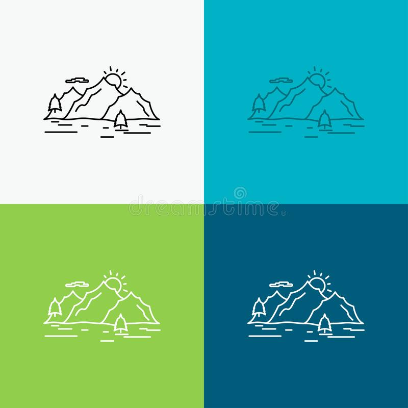 Mountain, hill, landscape, nature, tree Icon Over Various Background. Line style design, designed for web and app. Eps 10 vector. Illustration. Vector EPS10 royalty free illustration