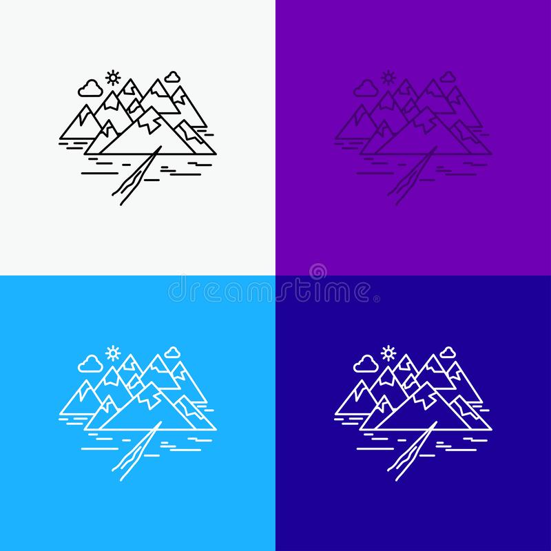 Mountain, hill, landscape, rocks, crack Icon Over Various Background. Line style design, designed for web and app. Eps 10 vector. Illustration. Vector EPS10 royalty free illustration