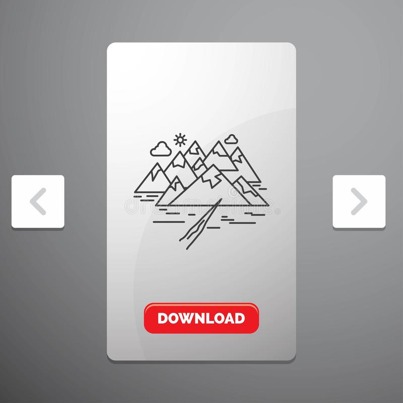 Mountain, hill, landscape, rocks, crack Line Icon in Carousal Pagination Slider Design & Red Download Button. Vector EPS10 Abstract Template background stock illustration
