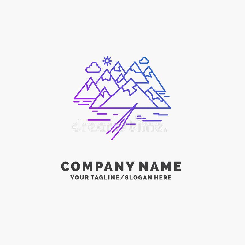 Mountain, hill, landscape, rocks, crack Purple Business Logo Template. Place for Tagline. Vector EPS10 Abstract Template background stock photo
