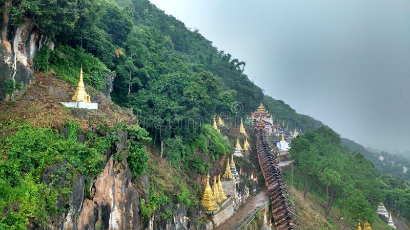 Mountain hills pagoda Buddhism nature stock photo