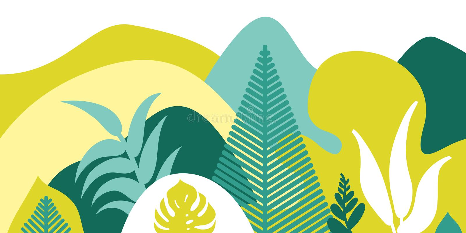 Mountain hilly landscape with tropical plants and trees, palms, succulents. Asian landscape in warm pastel colors. Scandinavian style. Environmental protection royalty free illustration