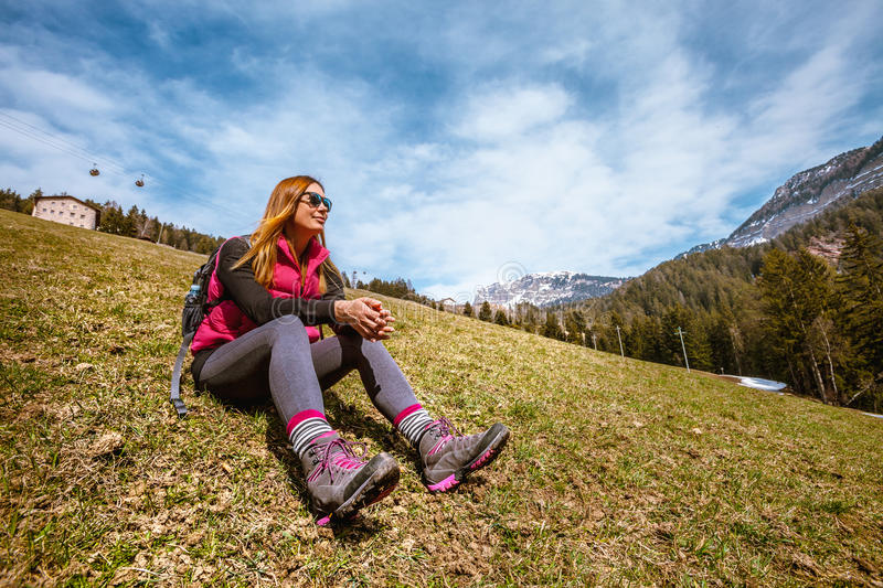 Mountain holidays. Hiking. Woman and nature stock image