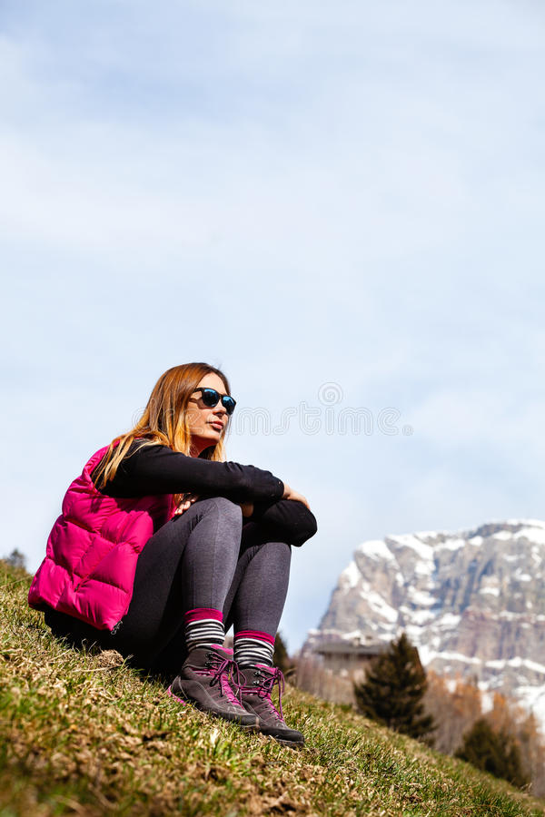 Mountain holidays. Hiking. Woman and nature royalty free stock photography