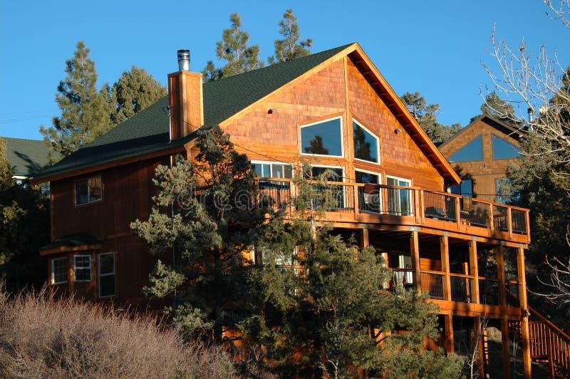 Mountain Home. Cabin,home,mountain,resort,living,recreation,mountains,pine,trees,deck,snow,season,fall,clean,air royalty free stock photos
