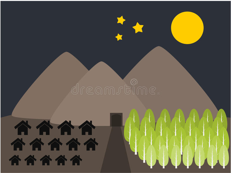 Mountain Home And Tree Illustration Royalty Free Stock Images