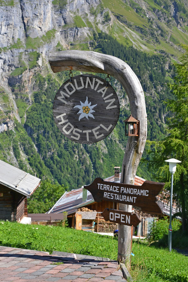 Download Mountain hostel sign stock image. Image of accommodation - 34308481