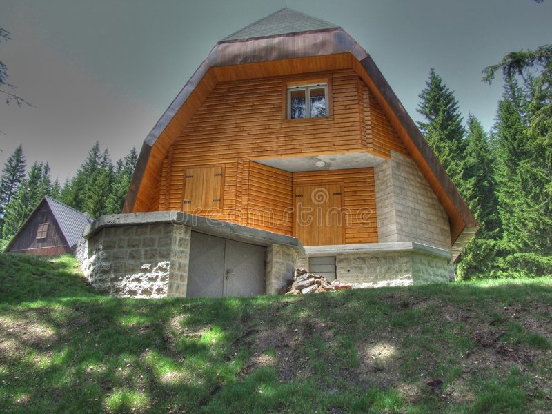 Mountain house. With HDR effect. This house is on the mountain Durmitor in Montenegro stock images
