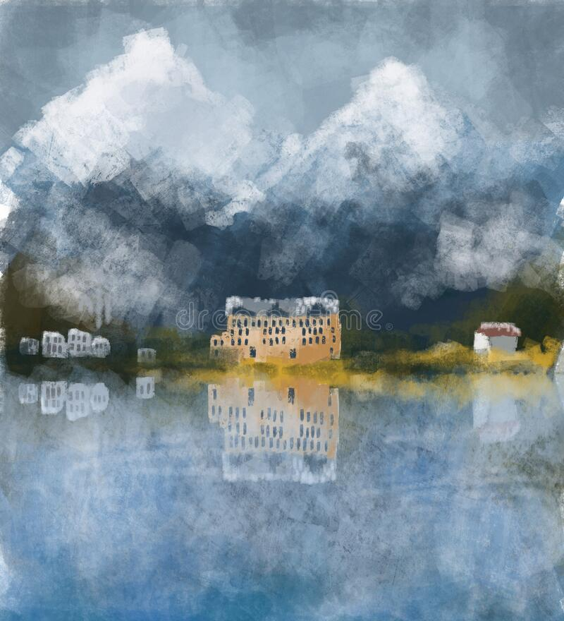 Mountain house on the lake surrounded by forest vector illustration