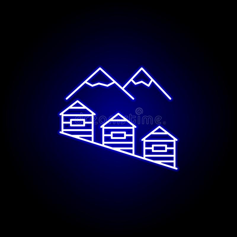 Mountain house line icon in neon style. Element of winter sport illustration. Signs and symbols icon can be used for web, logo,. Mobile app, UI, UX on black vector illustration
